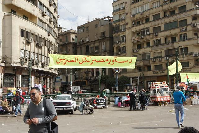 Constitution For all Egyptians banner in Egypt's Tahrir square