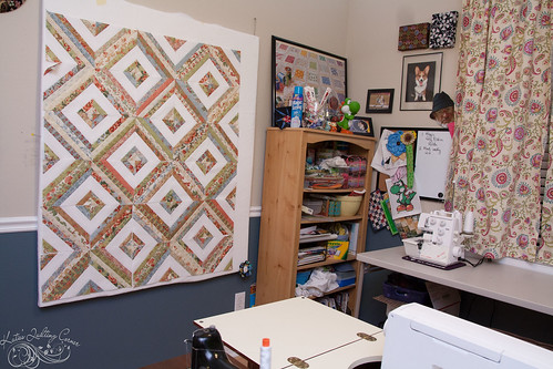 Design wall, Bookshelf, serger and whiteboard