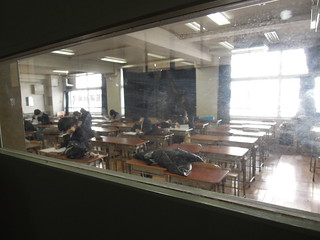 2013/1/26 杉並区立和田中学校視察 夜スペの授業中。