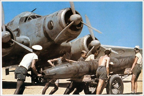 Loading Torpedo into a Savoia-Marchetti  SM 79 Sparviero (Hawk) 278 Squadron