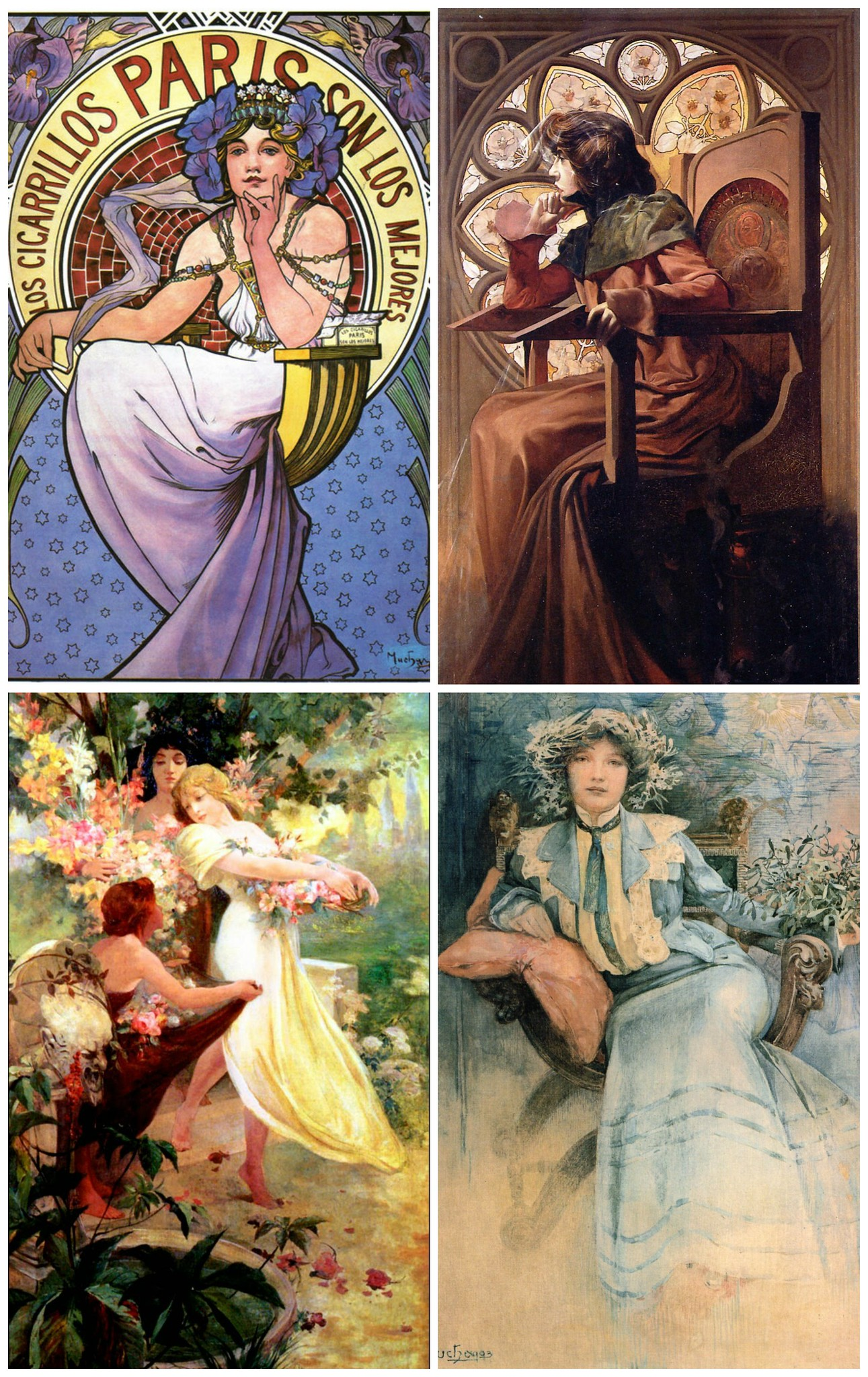 Los Cigarillos Paris, Portrait of Sarah Bernhardt, THe Spirit of Spring, Portrait of Mme. Mucha
