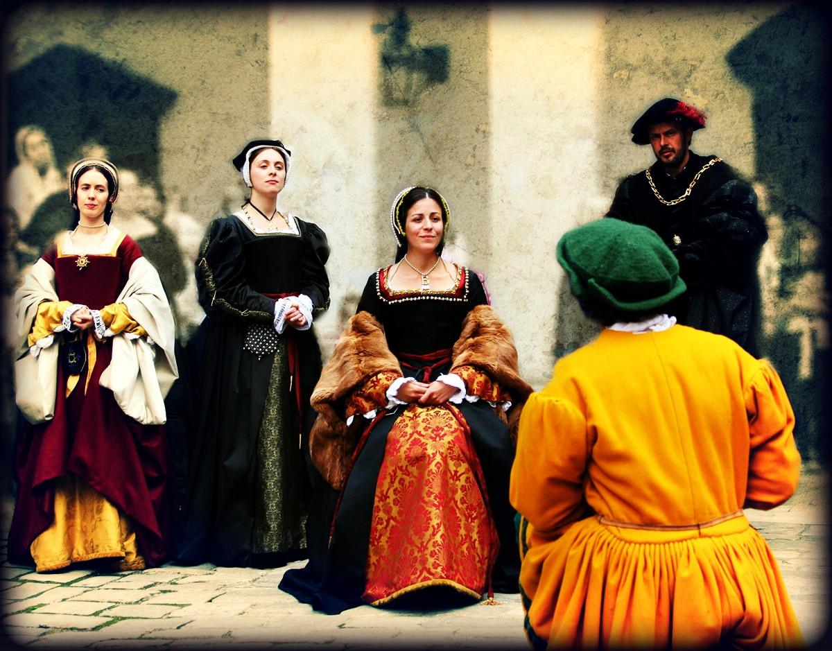 Queen Anne Boleyn at the Grand Jousting Tournament reenactment held at Hampton Court Palace. Credit KotomiCreations