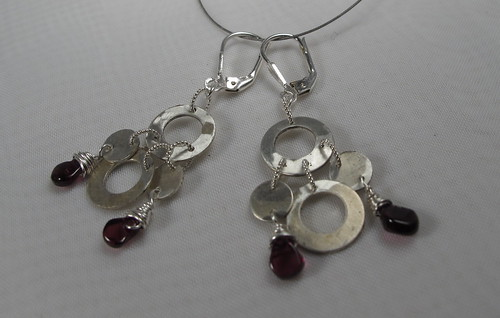Garnet and circles dancing earrings