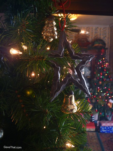 Heart of Haiti Star Ornament on the Christmas Tree
