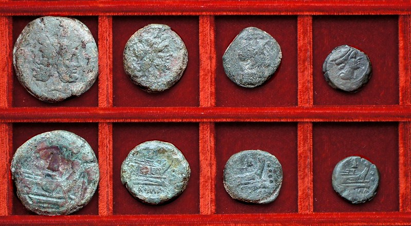 RRC 124 meta bronzes, Ahala collection, coins of the Roman Republic