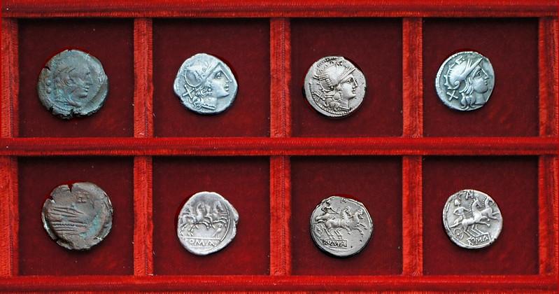 RRC 135 owl denarius, RRC 136 AV Aurelia denarius and Dacian imitation, RRC 134 LPLH Plautia quadrans, Ahala collection, coins of the Roman Republic