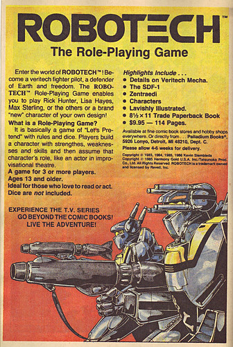 "PALLADIUM BOOKS :: ""ROBOTECH"" - The Role-Playing Game ; ..spot ad (( 1986 ))"