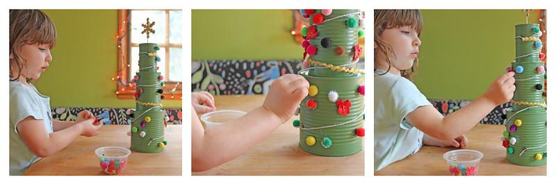 Christmas Tree Activities: Tin Can Christmas Trees are an easy holiday activity for kids using recycled tin cans.