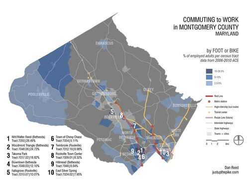 Commuting to Work in MoCo: By Foot or Bike (with rankings)
