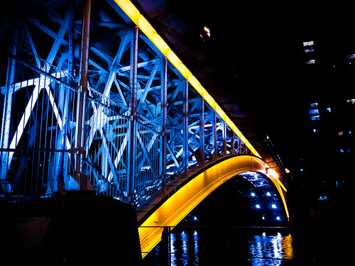bridge reflection japan night lumix landscapes osaka nightview gf2