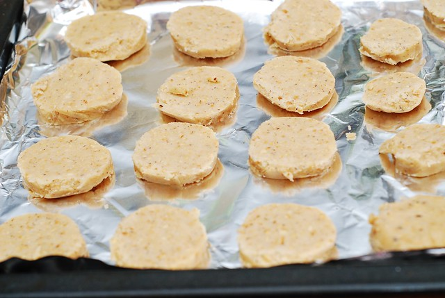 sliced cookies on a baking sheet
