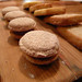 Chestnut and cinnamon macarons, shortbread