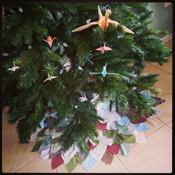 My homemade feather tree skirt.