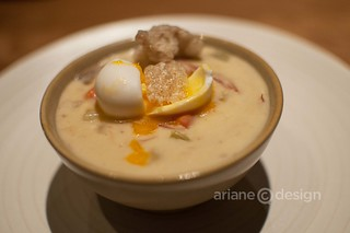 Forage/BC spot prawn and seafood chowder, soft-poached egg, smoked chicharrón, pork hock