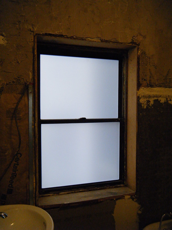 Bathroom window with file from inside