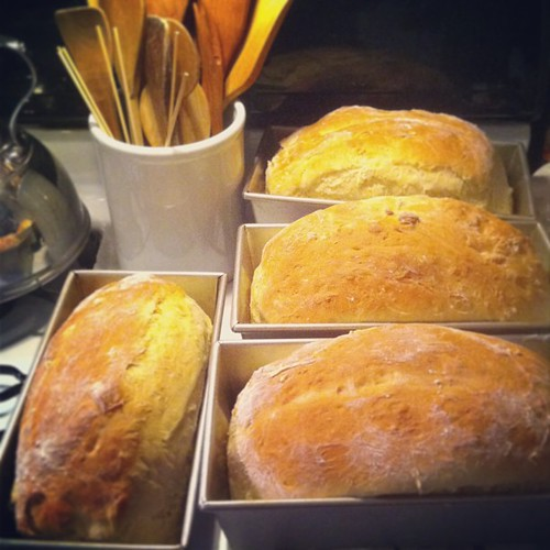 I made bread so I can give one loaf away and the rest is for bread pudding #fromourkitchen #bread #baking