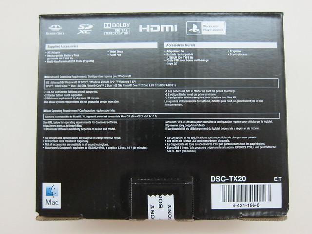 Sony Cyber-shot DSC-TX20 - Box Back