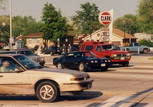 The intersection of South Ridgeland Avenue and Southwest Highway.  Oak Lawn Illinois.  May 1990. by Eddie from Chicago