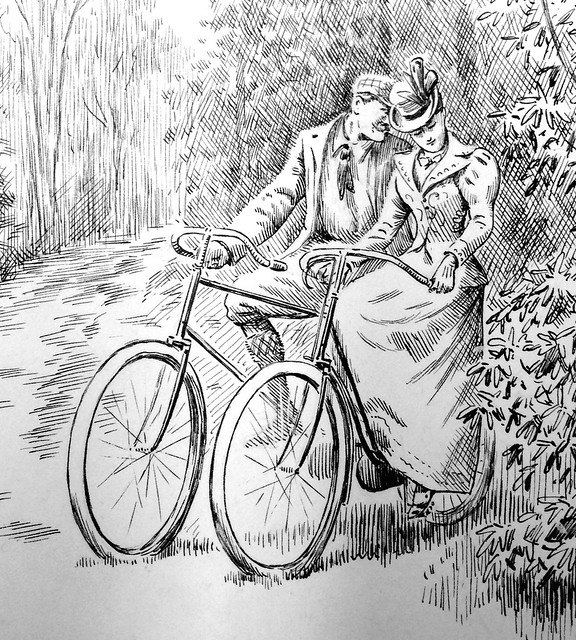 Cycling lovers, 1897 [close-up]