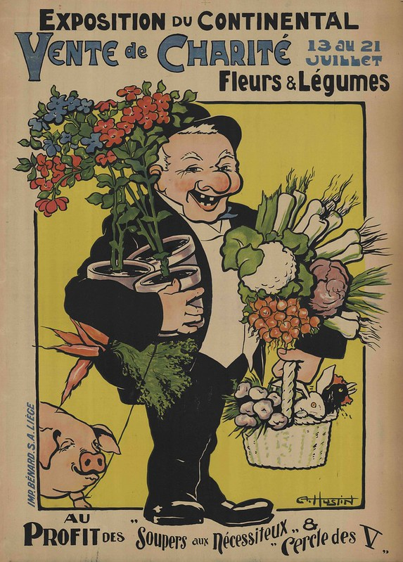 french advert print with happy man holding fruits & veg accompanied by pig on leash