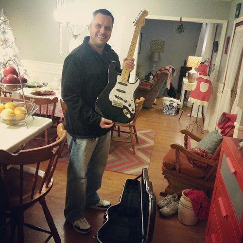 I knew he was not coming home empty handed tonight. #fender #stratocaster