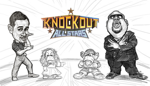 digital caricatures of Sheikh Haikel and Gurmit Singh for Okto Knockout 100th episode - 2