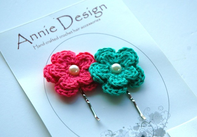 Crochet flower hair bobby pins Flickr - Photo Sharing!