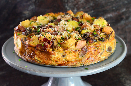 potato, bacon and mushroom strata