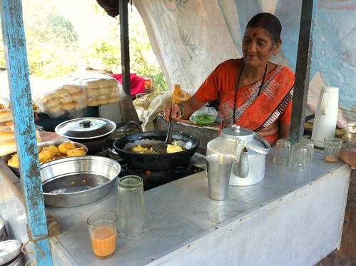 Old couple running tea stall at Madh