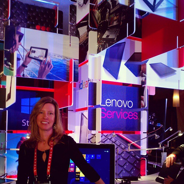 Rebecca is the visual mastermind behind our #CES lounge #design - well, her and MC Escher. #iamlenovo