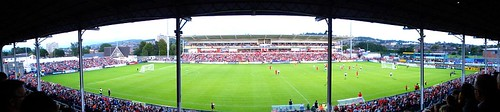 Panorma of Ravenhill during Crusaders vs Liverpool football match