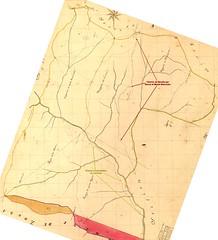 Cadastre Napoléonien Conca feuille A2 avec le Haut-Cavu dans la région de Mela, Peralzone et Paliri avec le chemin de montée à Bavella par Bocca di Monte Bracciutu et le chemin d'exploitation du Carciara