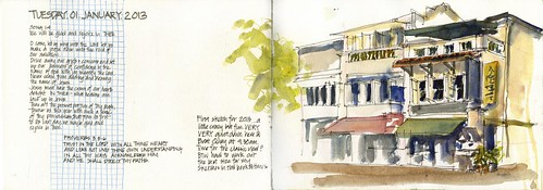 12 Tues01_01 Boat Quay first sketch for the year