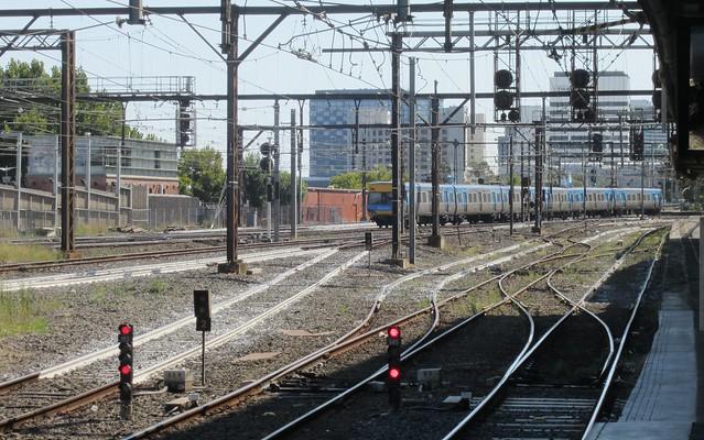 White tracks near Flinders Street station