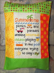 Recipe for Summer cross stitch pillow