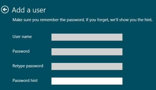 create a password windows 8 hint