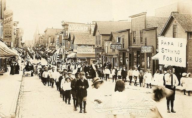 Children's Parade, Calumet Copper Miners Strike -- RPPC by Calumet New Studio, Calumet, Michigan.