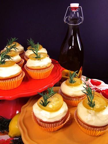 Limoncello Rosemary Ricotta Cupcakes