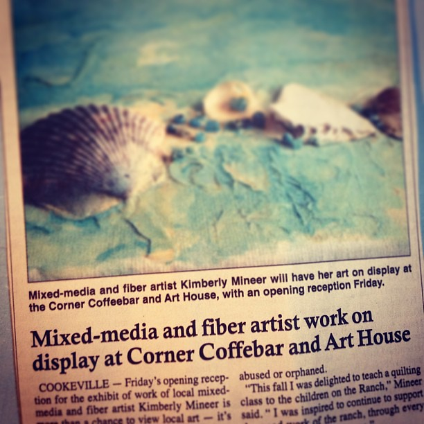 Yay!  Mom and her art are in the paper with my press release!