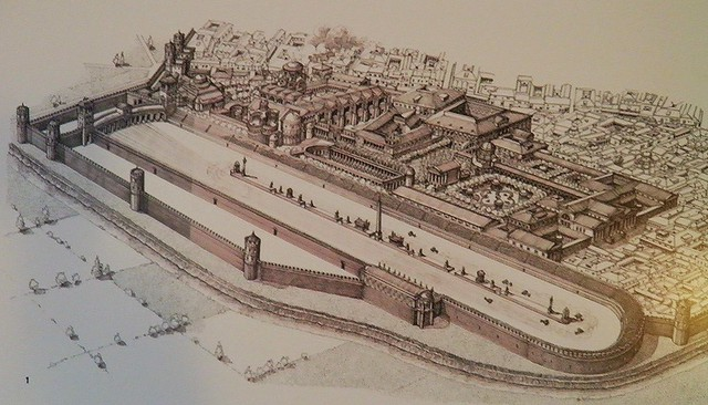 Reconstruction drawing of the Roman Circus, Civico museo archeologico di Milano