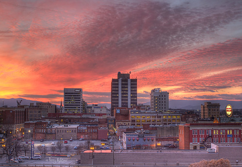 city sunset sky mountains clouds buildings twilight downtown roanoke terry tableau hdr aldhizer terryaldhizercom