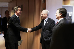 Eu  Council: President Van Rompuy welcoming the British PM David Cameron