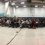 View of the public hearing last night at Meriwether Lewis elementary school.