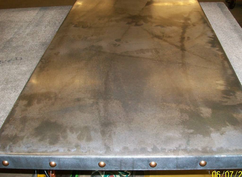 7   Light Patina Zinc Table Top With Feature Bronze Studs 2