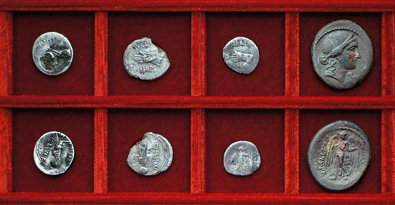 RRC 546-7-7-8 IMP CAESAR Scarpus Octavian plated hybrid, denarius, quinarius, RRC 550 Q.OPPIVS PR Oppius dupondius, Ahala collection, coins of the Roman Republic