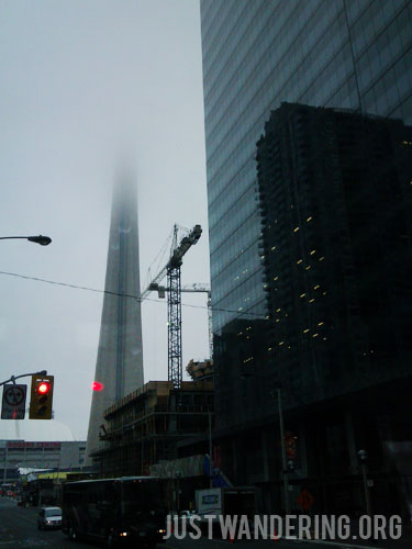 CN Tower disappearing into the clouds