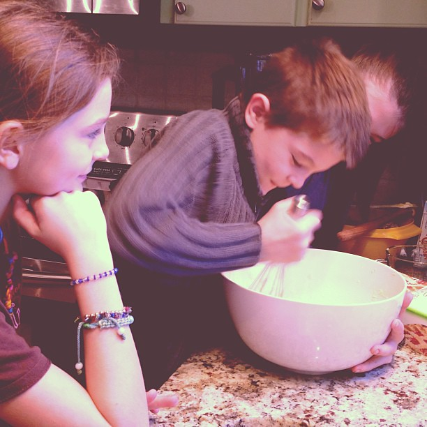 Calling in the muscles.  #unschooling #baking