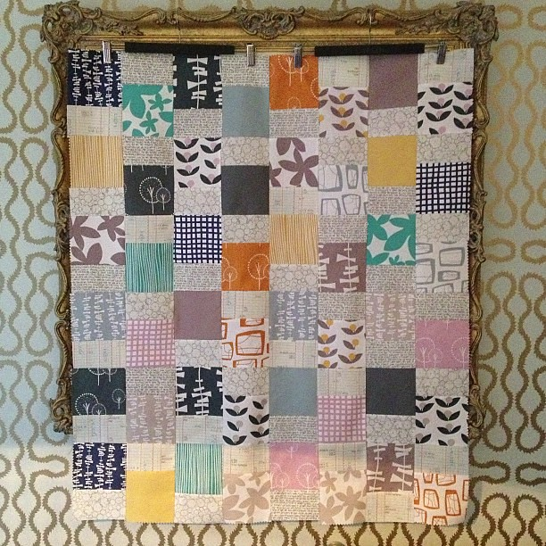 Glimma by Lotta Jansdotter and Architextures from @robertkaufman quilt top. I wonder if I can sneak it in as a last minute 2012 finish?