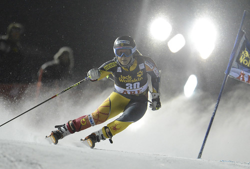 Marie-Pier Préfontaine races in World Cup giant slalom in Are, Sweden.
