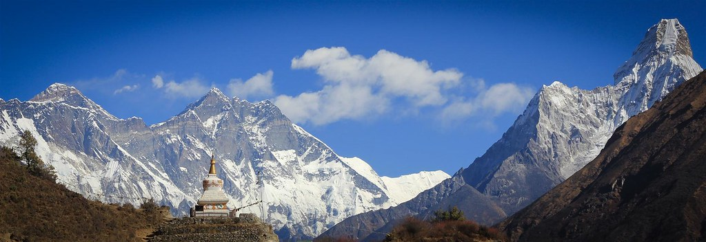 Everest (8848m), Lhotse (8516m) and Ama Dablam (6812m), as seen from the aproach towards Everest Base Camp